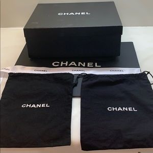 Chanel box 2pouches. medium size paper bag &ribbon